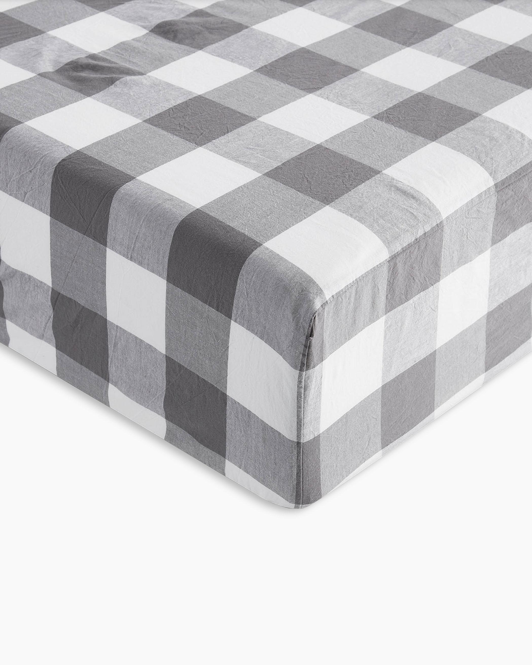 Gray Buffalo Check Washed Cotton Sheet Set
