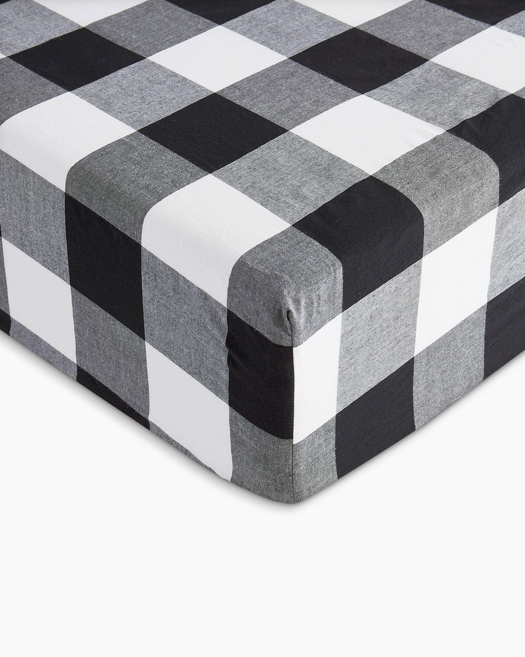 Charcoal Buffalo Check Washed Cotton Sheet Set