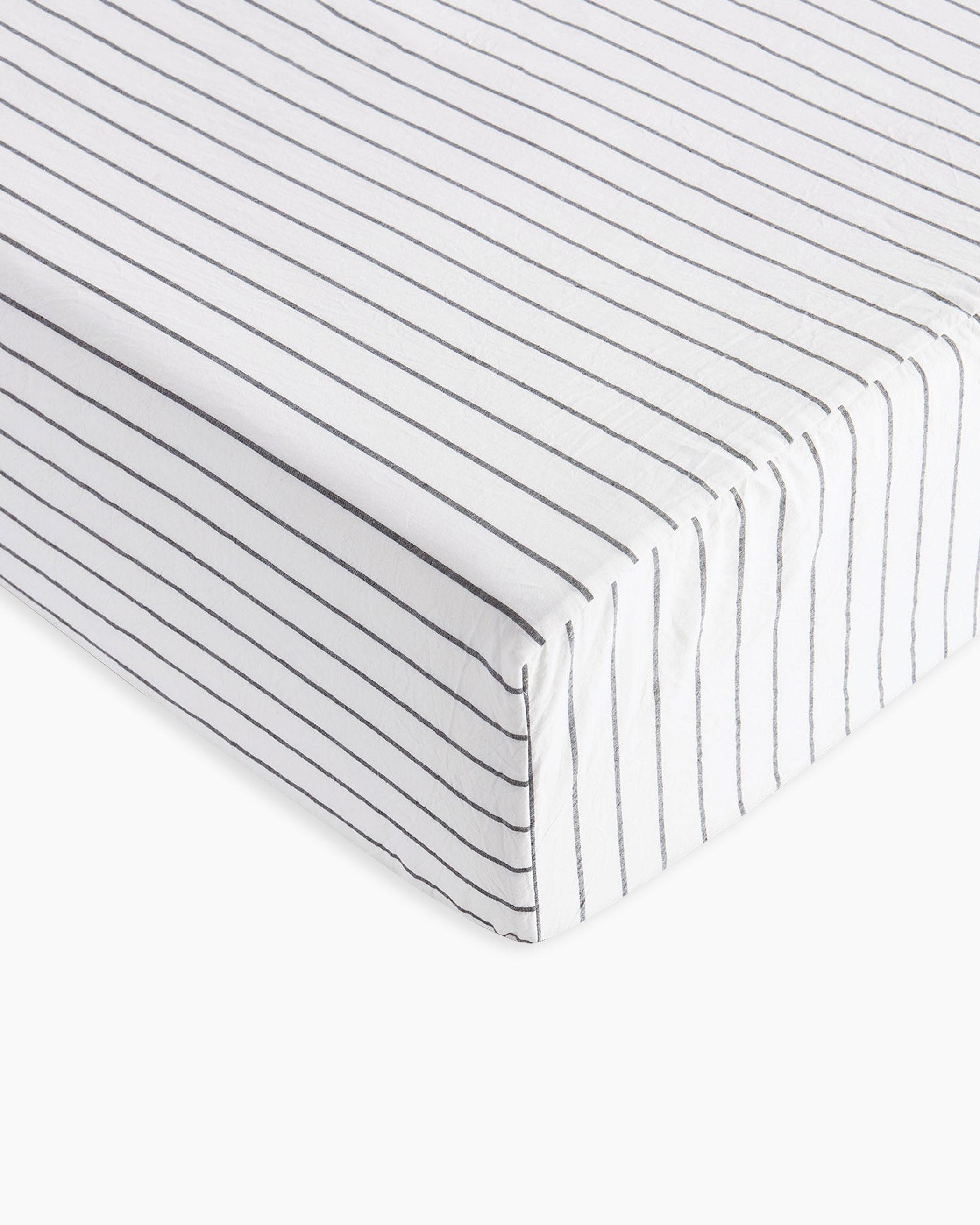 White Striped Washed Cotton Sheet Set