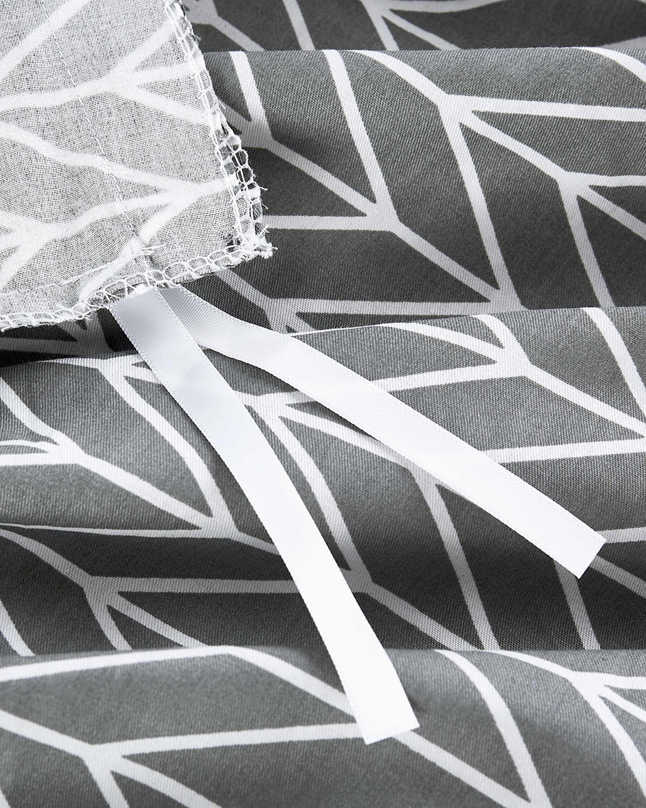 Gray Chevron Cotton Duvet Cover Set
