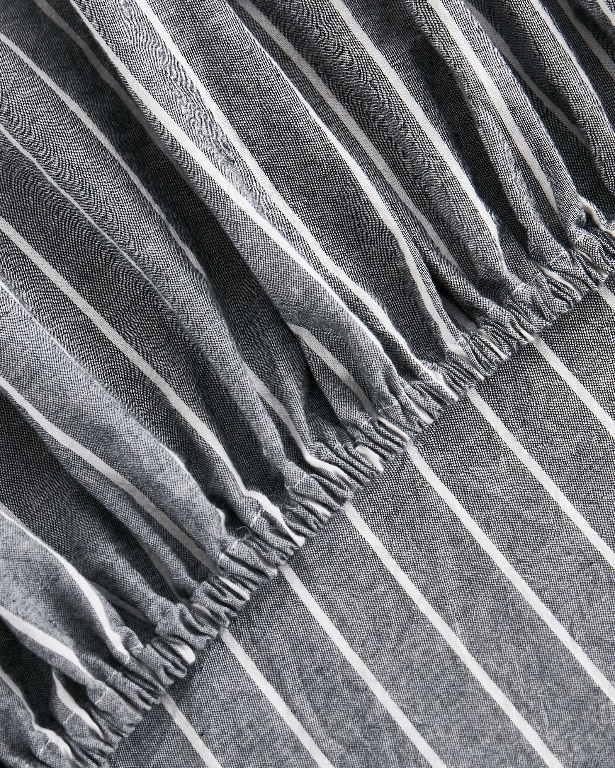 Gray Striped Washed Cotton Sheet Set