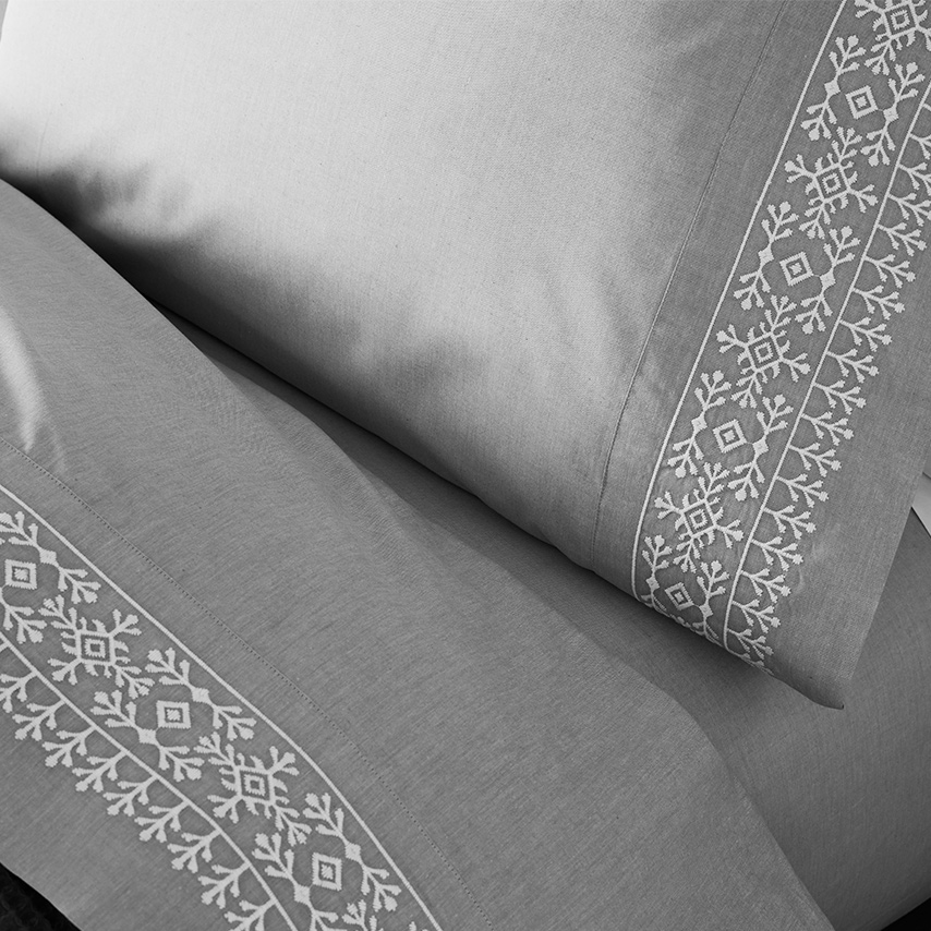 Chambray Embroidered Cottonfield Pillowcase Set
