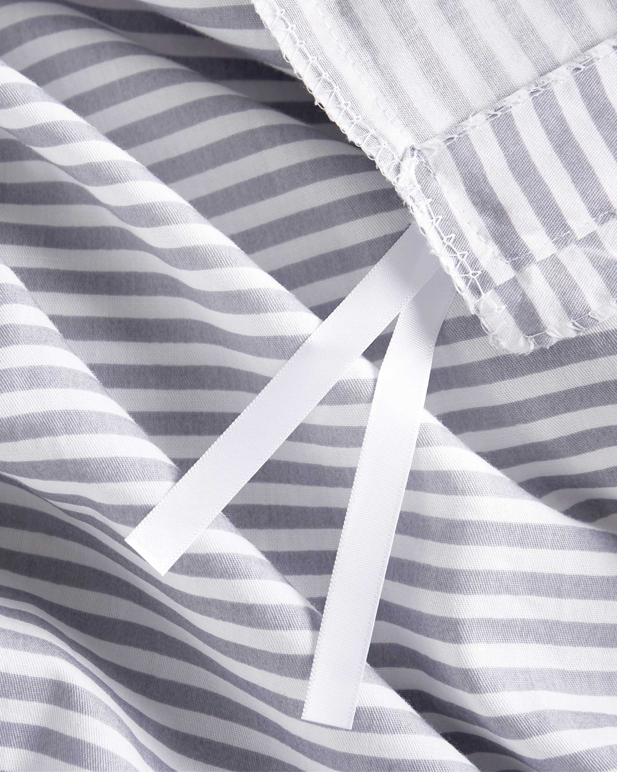 Gray Striped Cotton Duvet Cover Set