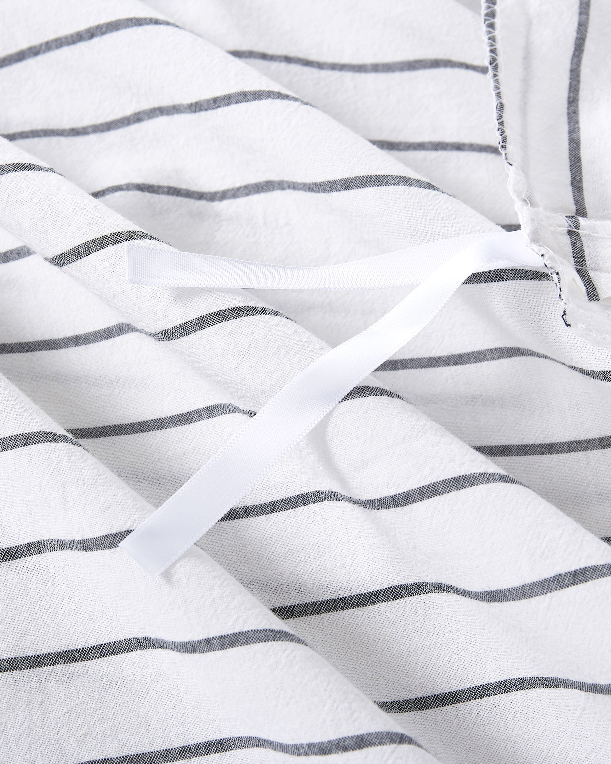White Striped Washed Cotton Duvet Cover Set