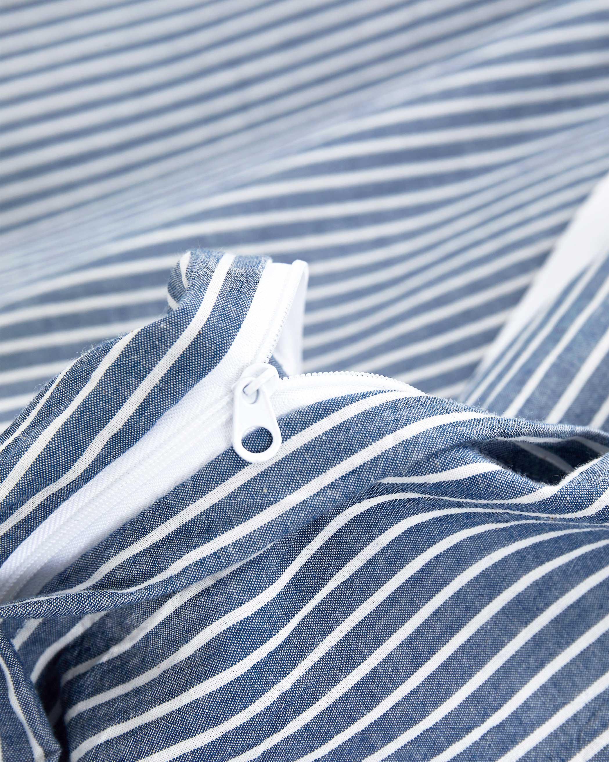 Denim Blue Striped Washed Cotton Duvet Cover Set