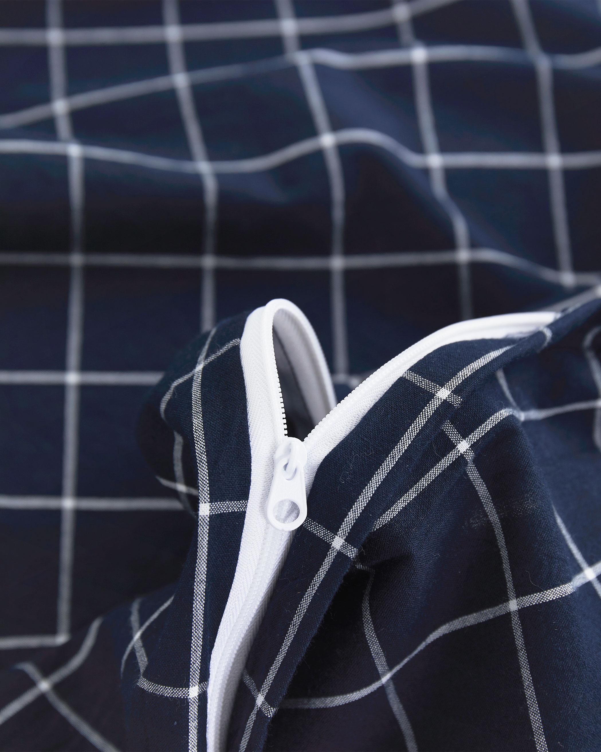 Navy Blue Grid Washed Cotton Duvet Cover Set