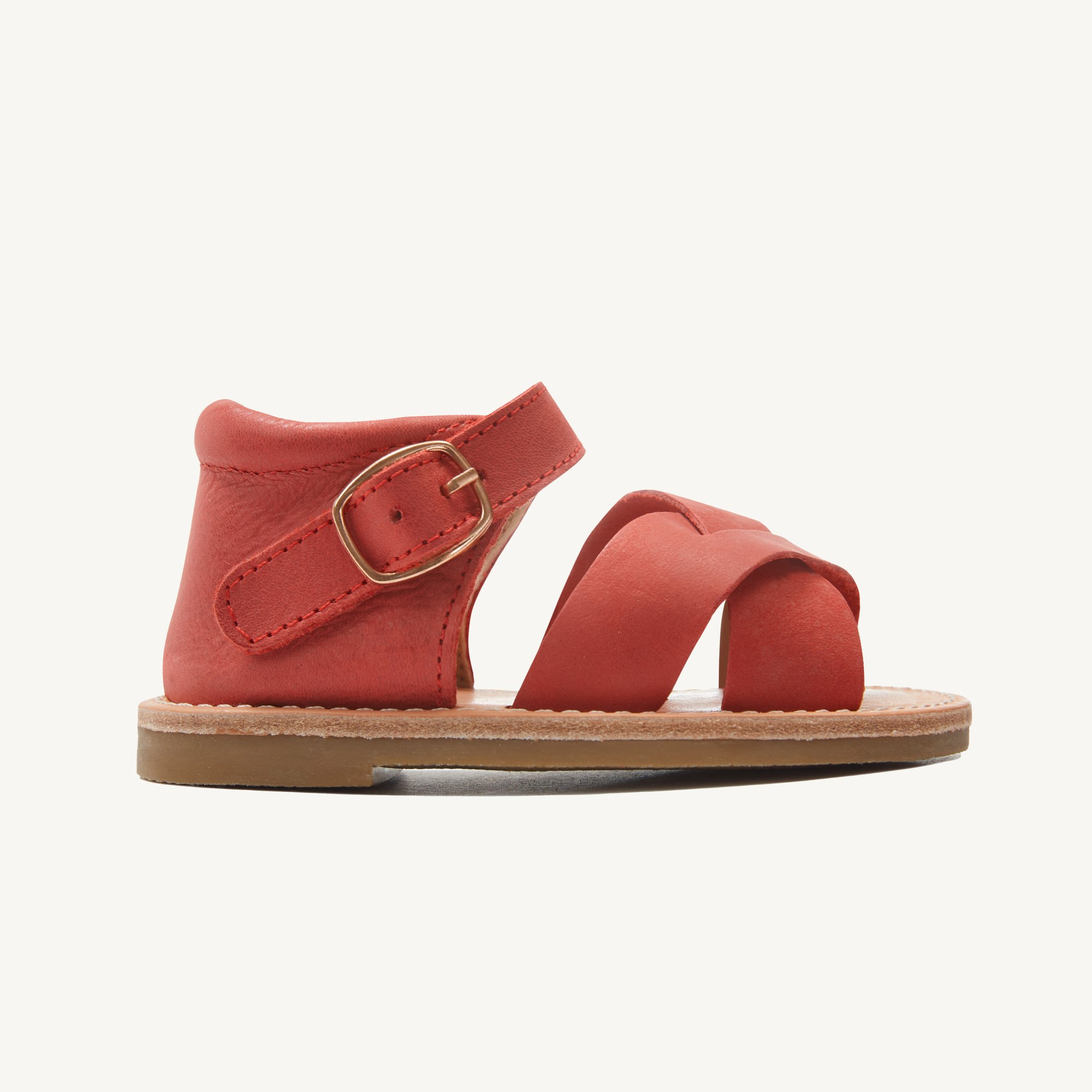 poppy red leather toddler sandals