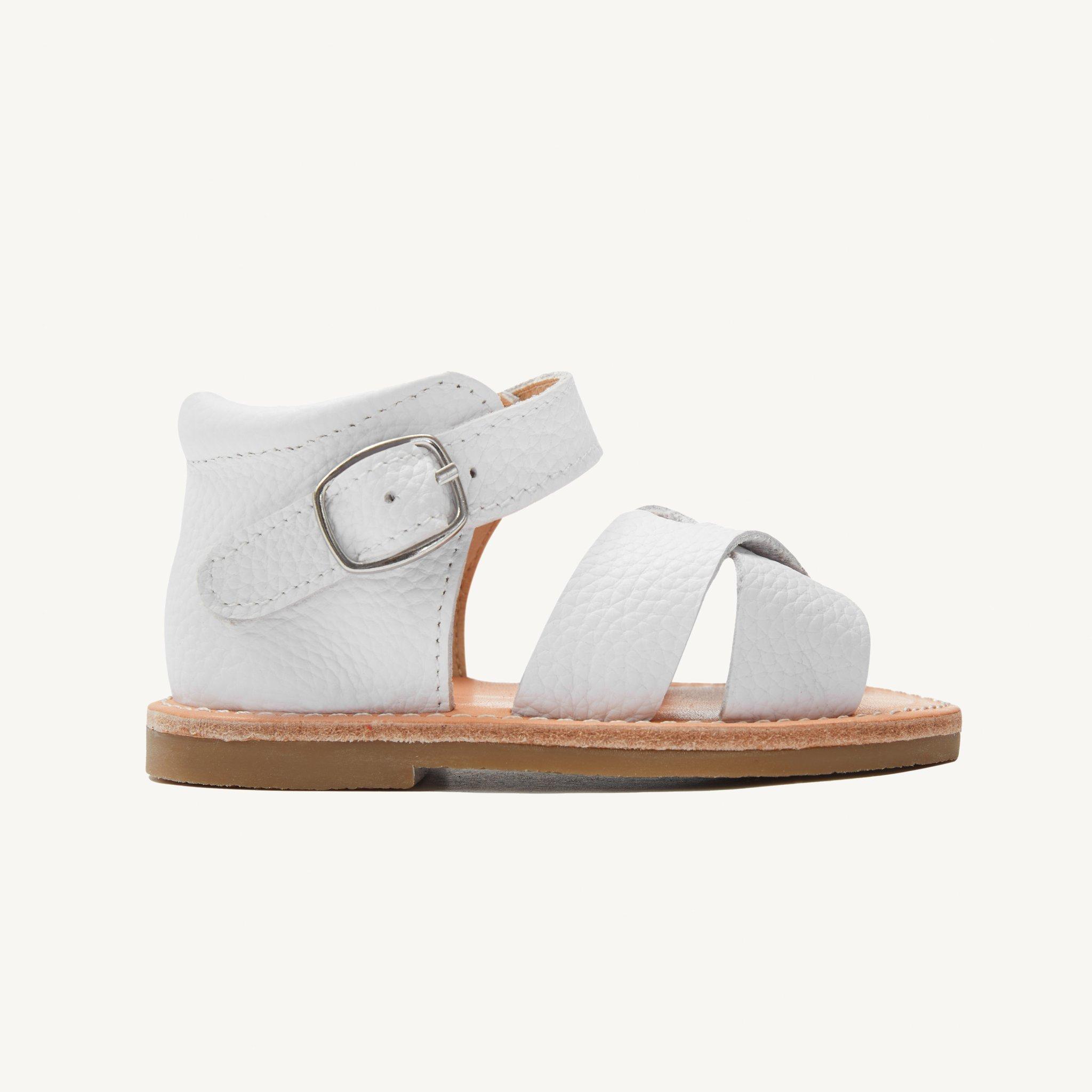 poppy white leather toddler sandals