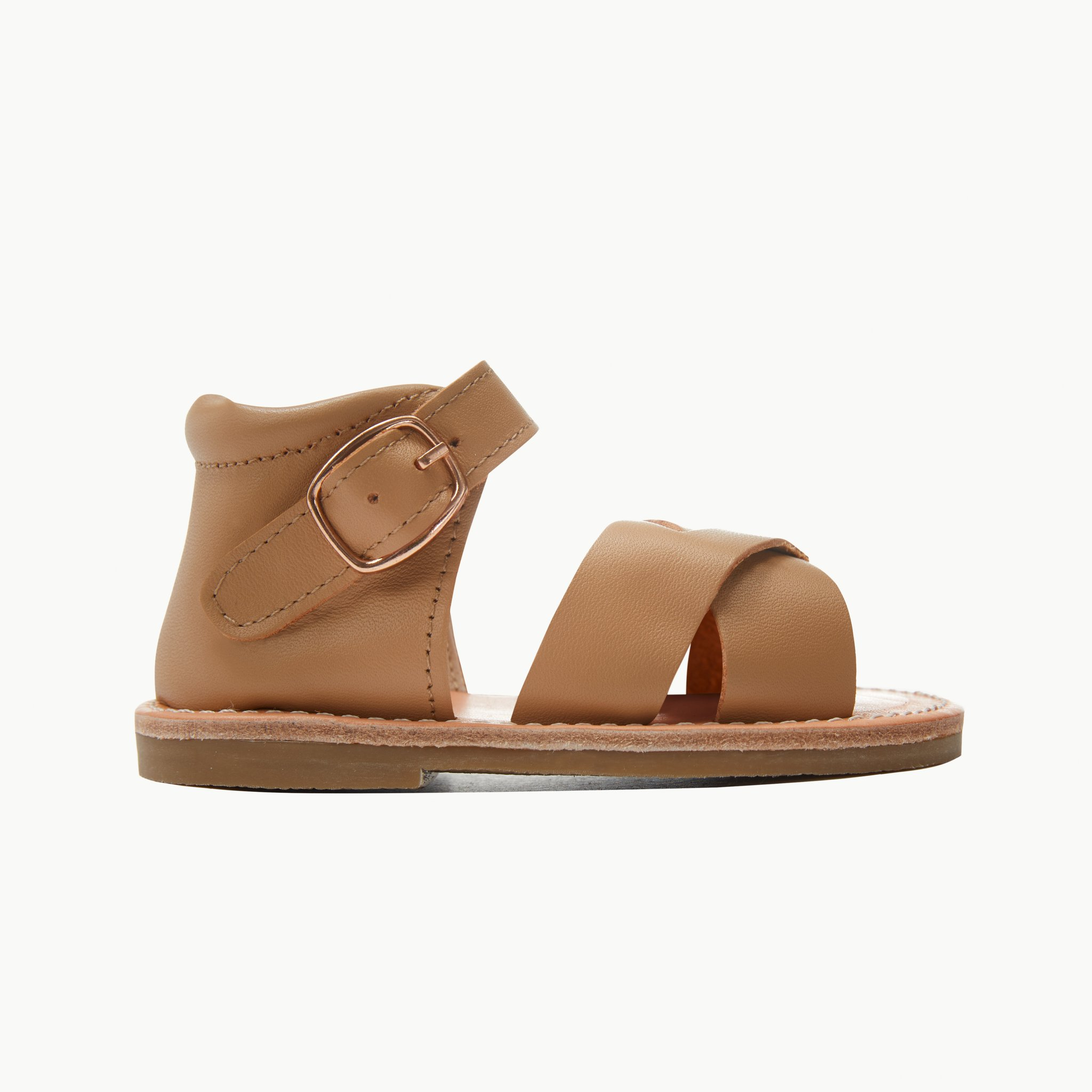 poppy tan leather toddler sandals