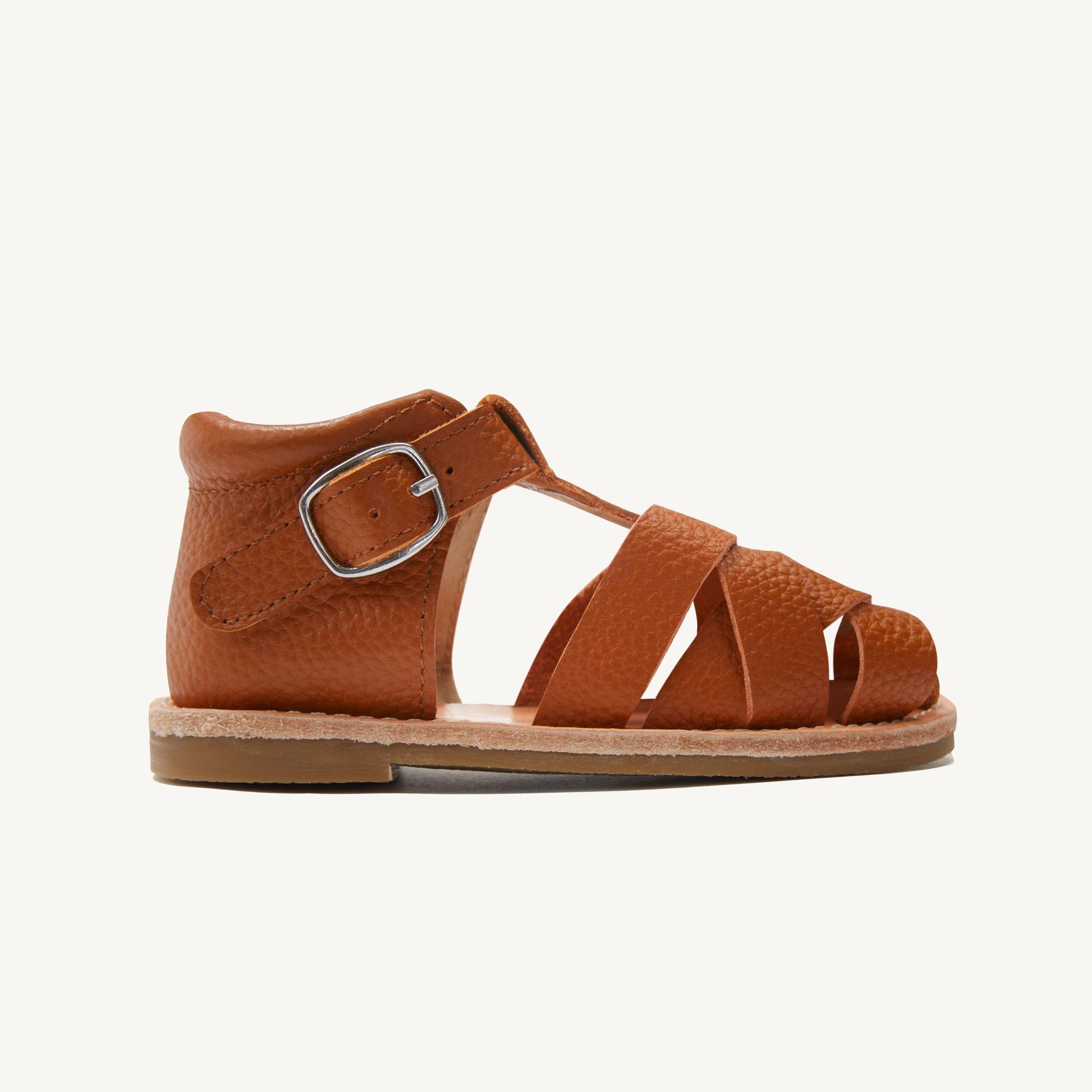 rylee cognac leather toddler sandals