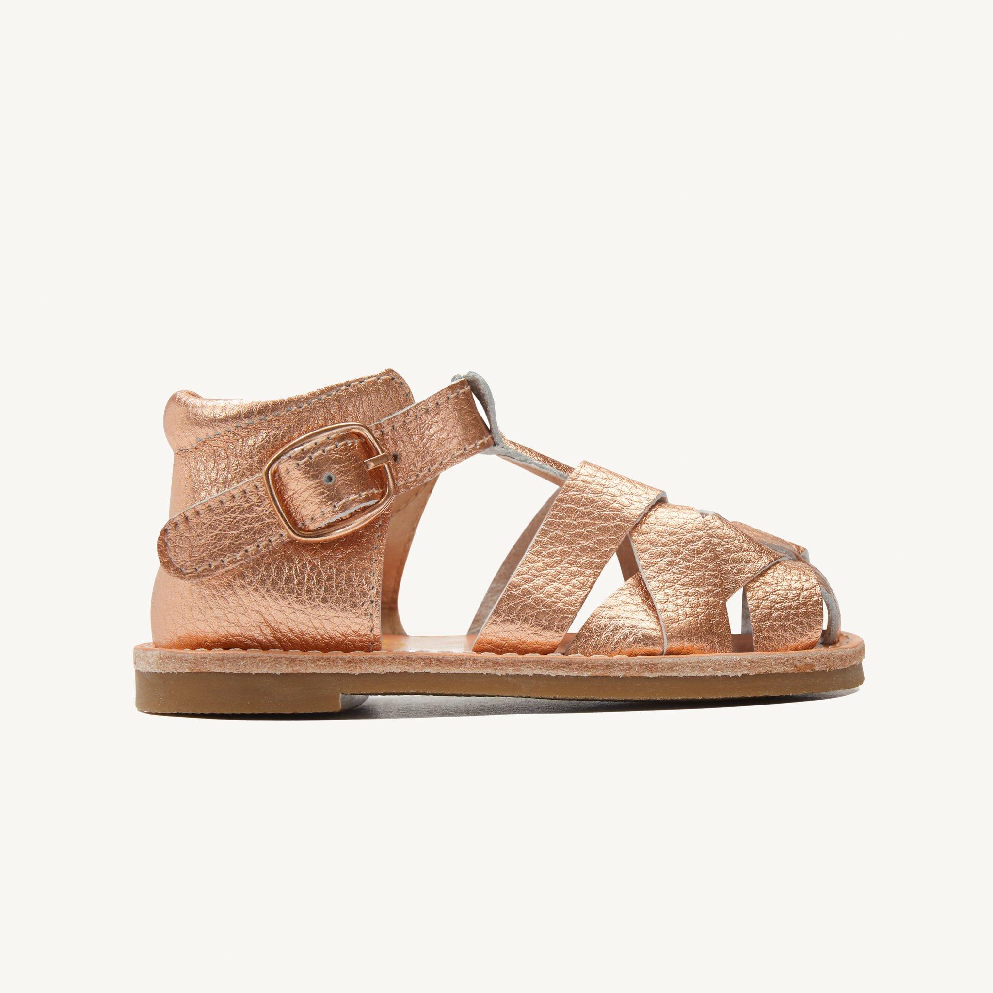 rylee rose gold leather toddler sandals