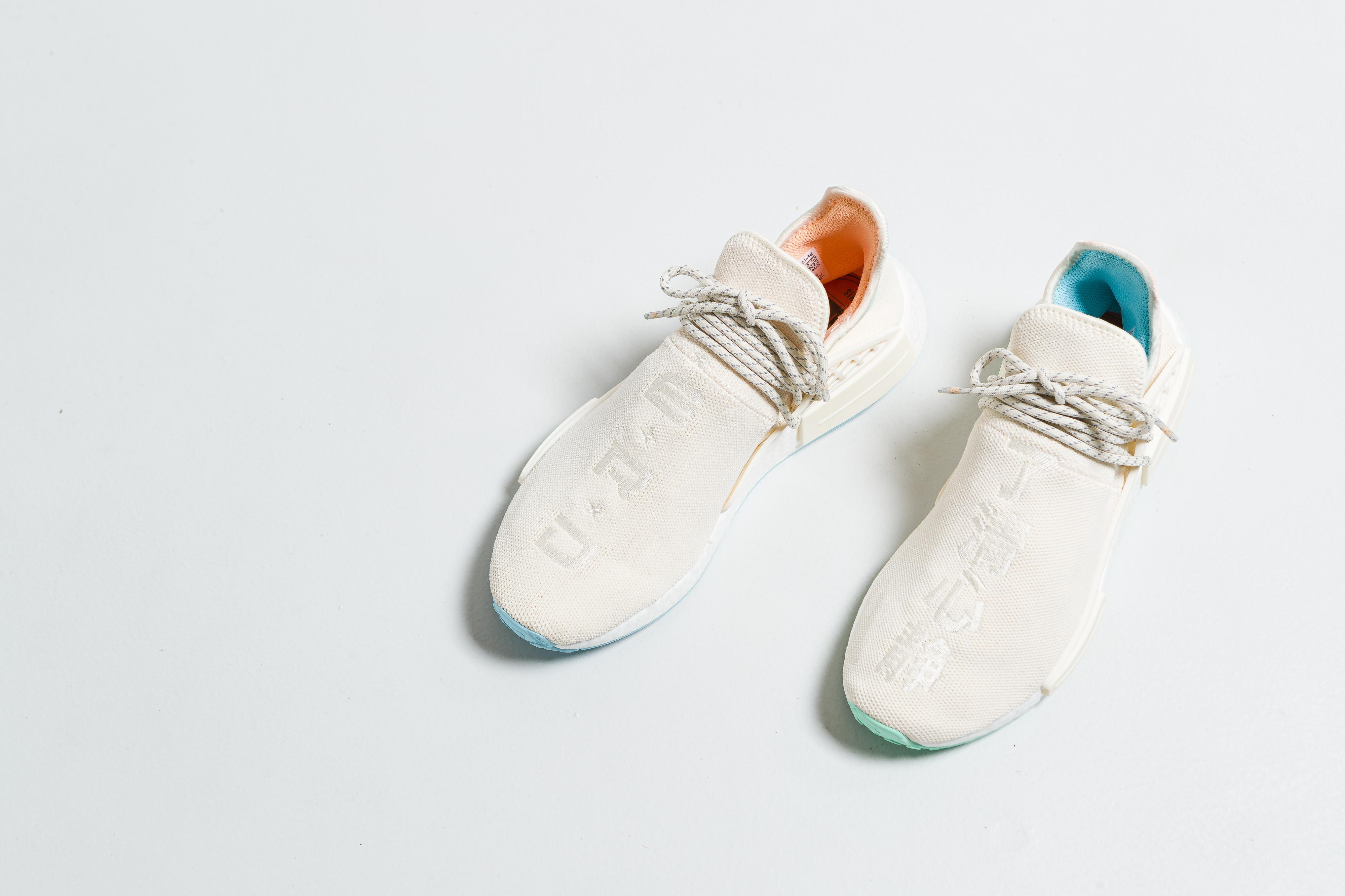 adidas - HU NMD N.E.R.D. - Core White/Glow Orange/Clear Mint - Up There