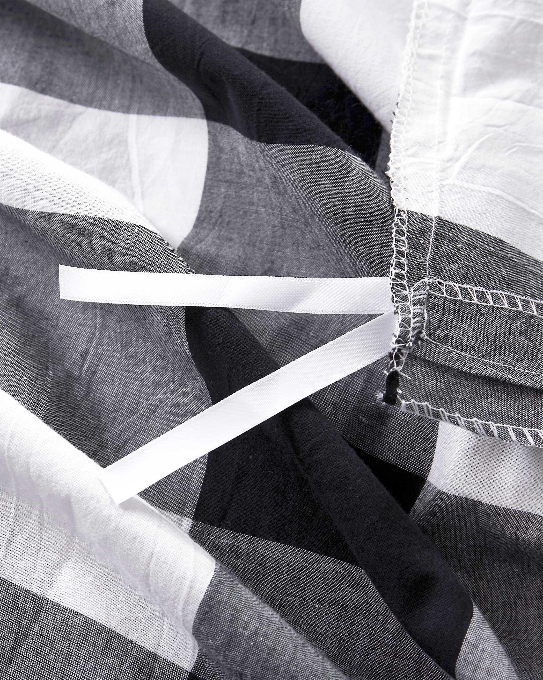 Charcoal Buffalo Check Washed Cotton Duvet Cover Set