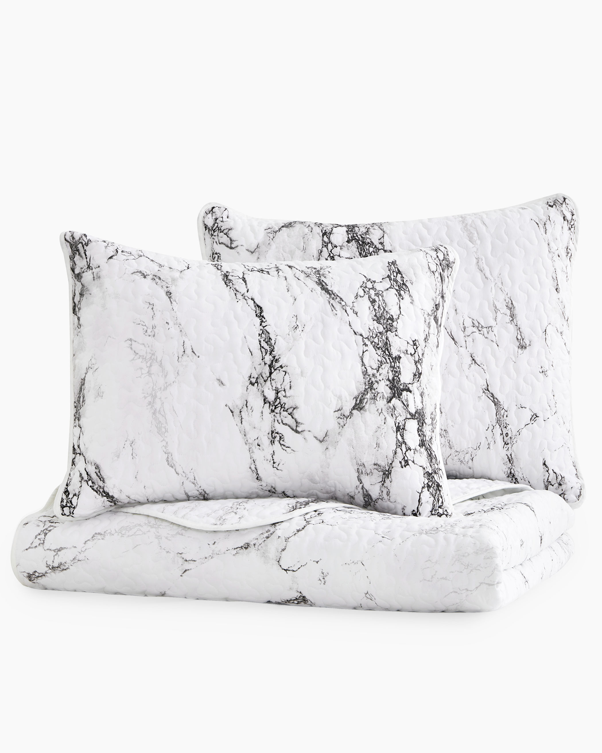Marble Microfiber Quilt Set