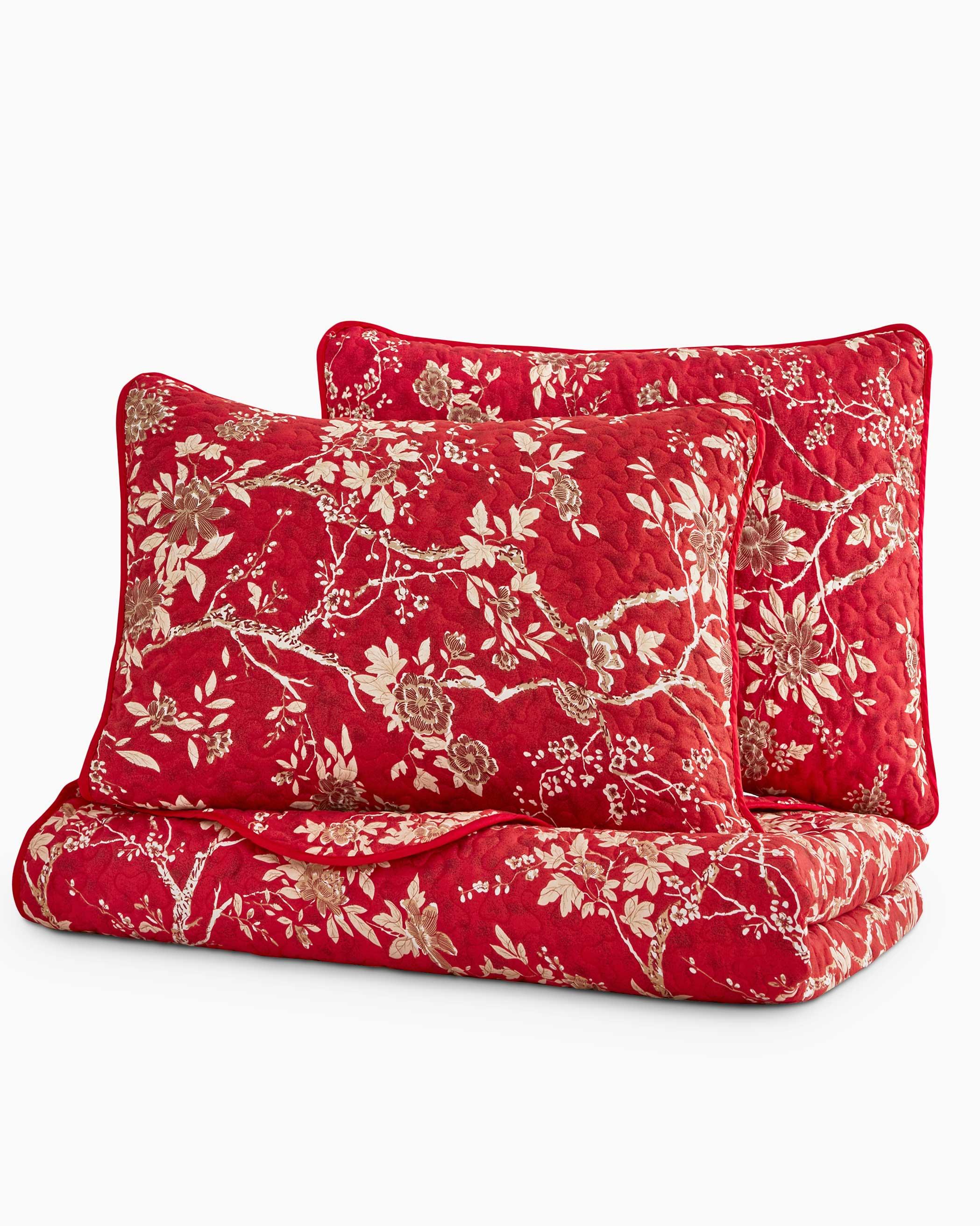 Red Floral Microfiber Quilt Set