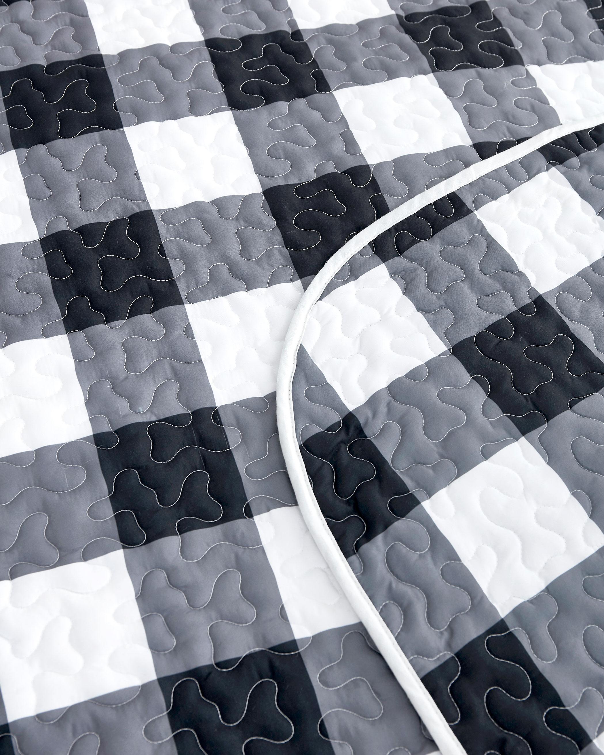 Charcoal Buffalo Check Microfiber Quilt Set