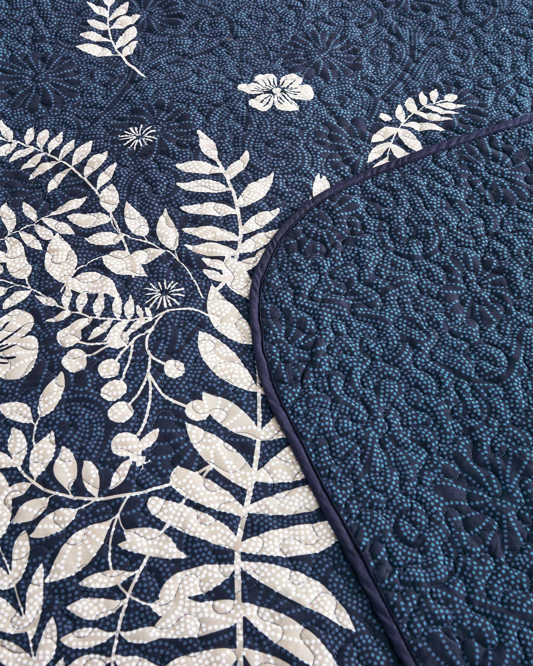 Navy Blue Floral Microfiber Quilt Set