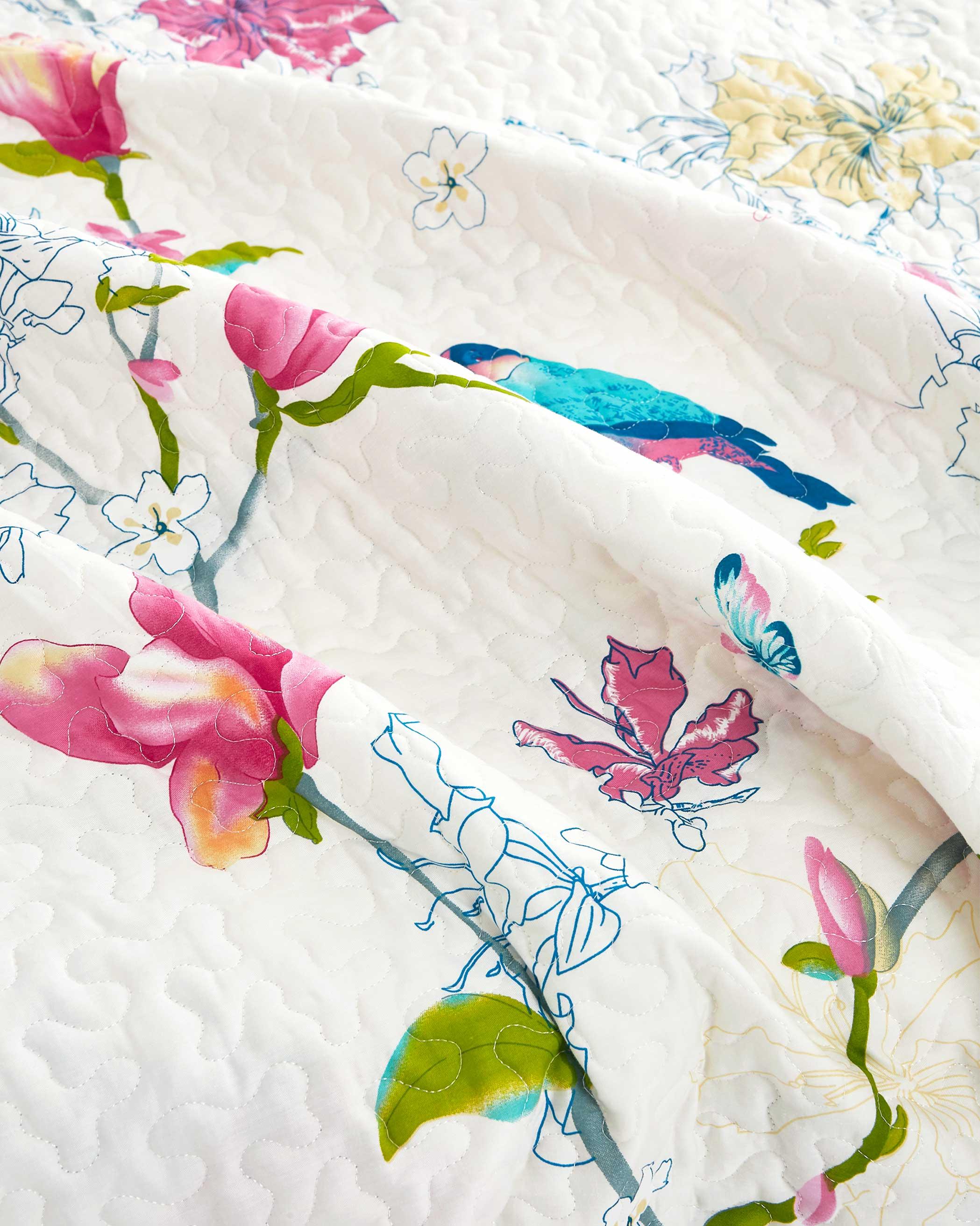 Floral Birds Cotton Quilt Set