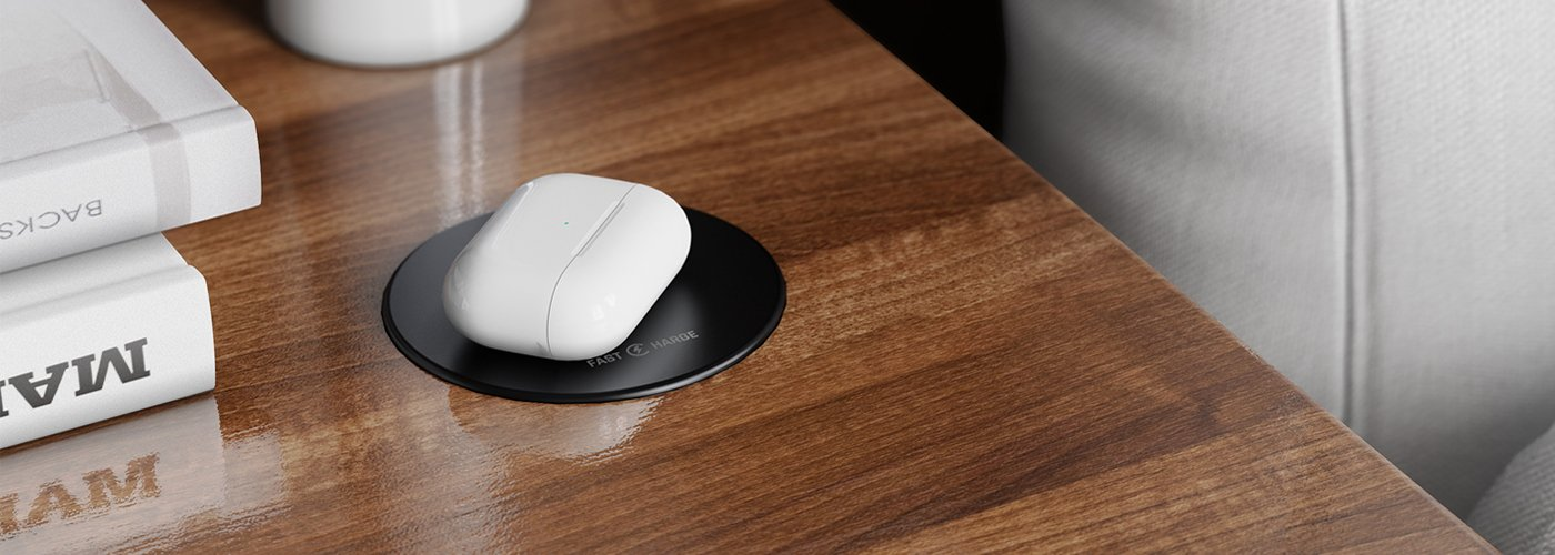 Furniture mounted in-desk 10 watt wireless Qi charger for hotel guest rooms