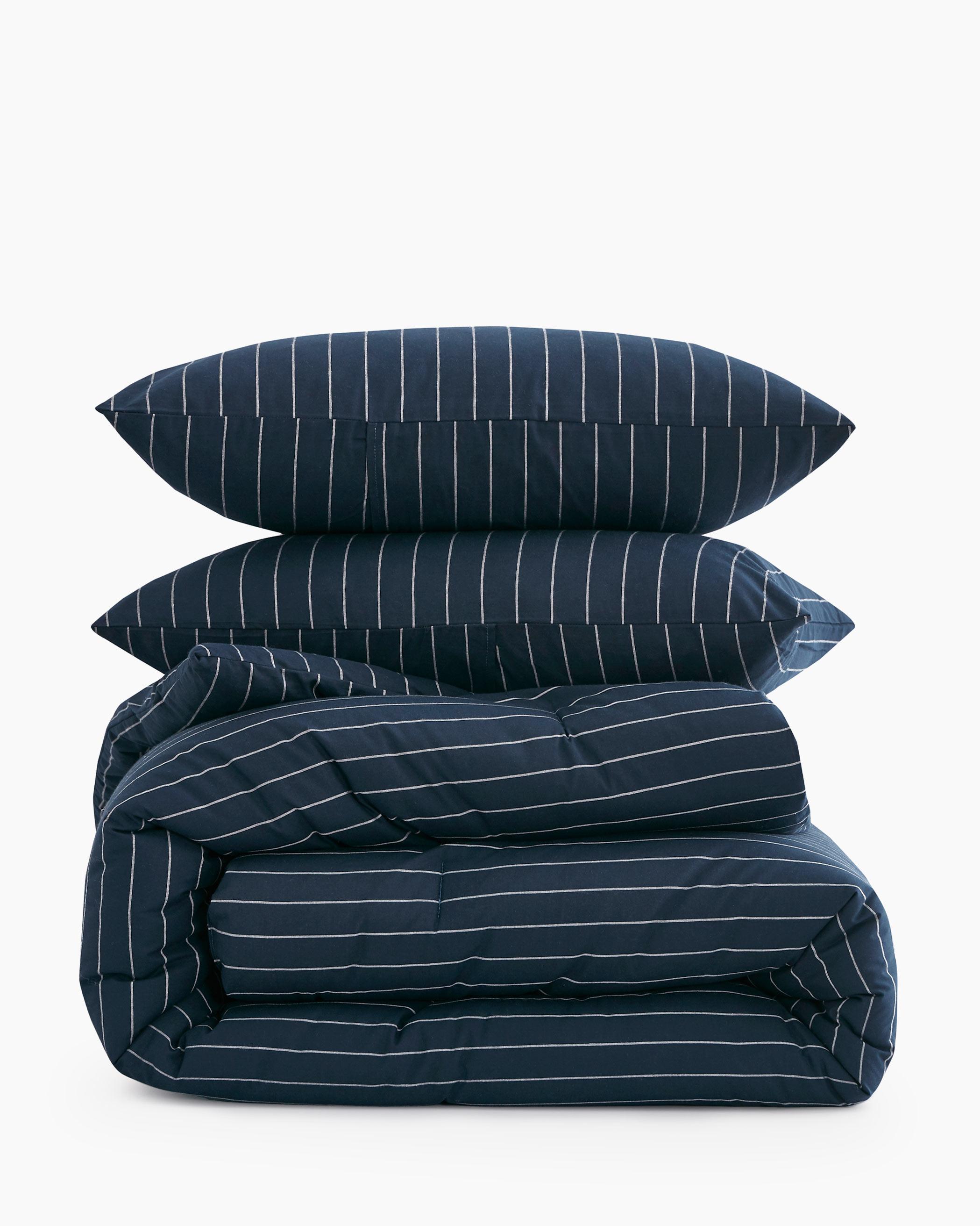 Navy Striped Cotton Comforter Set