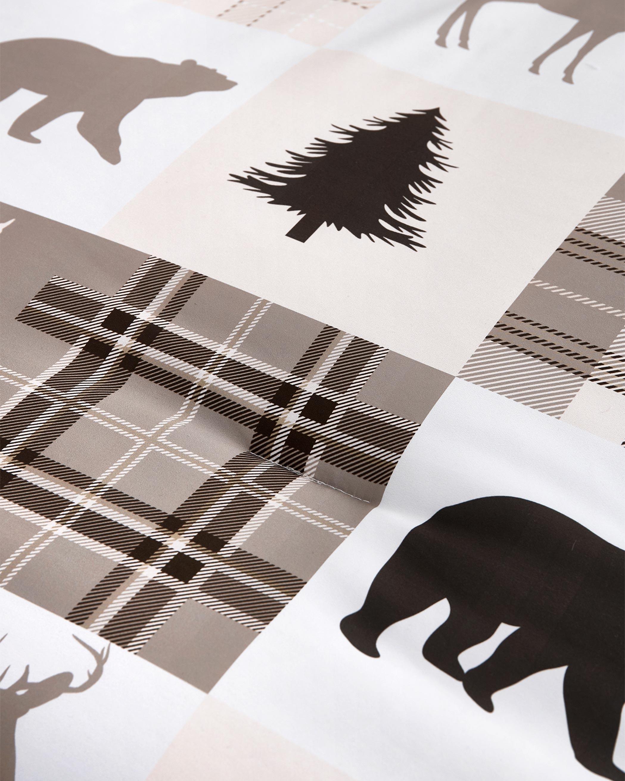 Taupe Rustic Patchwork Microfiber Comforter Set