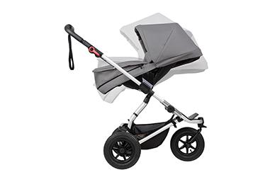 Langlebigkeit durch Umrüstung des carrycot plus in einen elternorientierten Sitz ab dem Alter von 6 Monaten