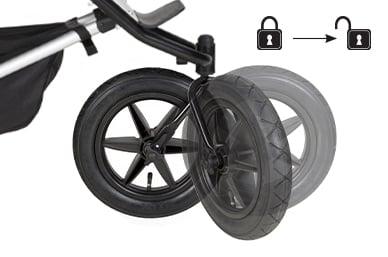 2-Modi-Vorderrad mit Rücklaufsperre (Kontrolle über Unebenheiten terrain) ODER 360°-Vollschwenk (Manövrierfähigkeit zum Navigieren in engen Räumen)