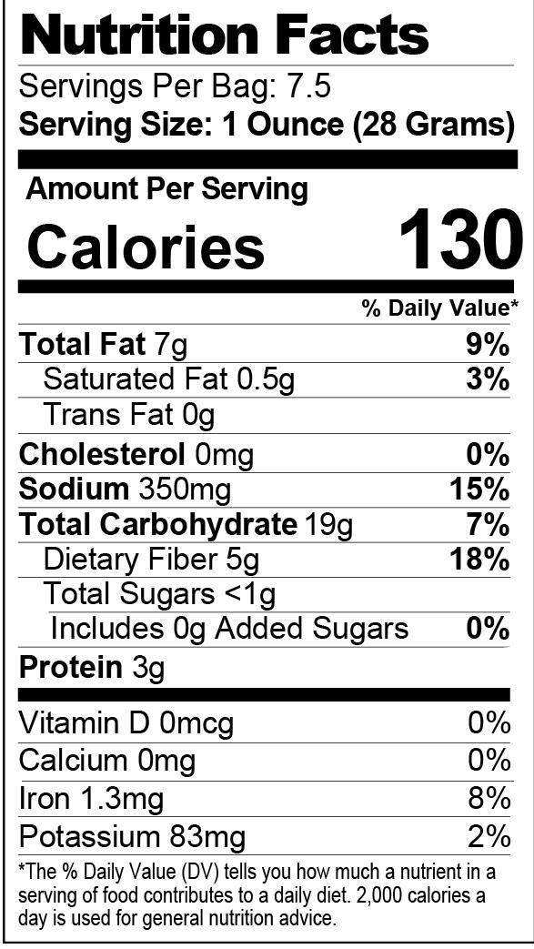 Kick'n Cracked Pepper & Sea Salt Seasoned Popcorn nutrition facts