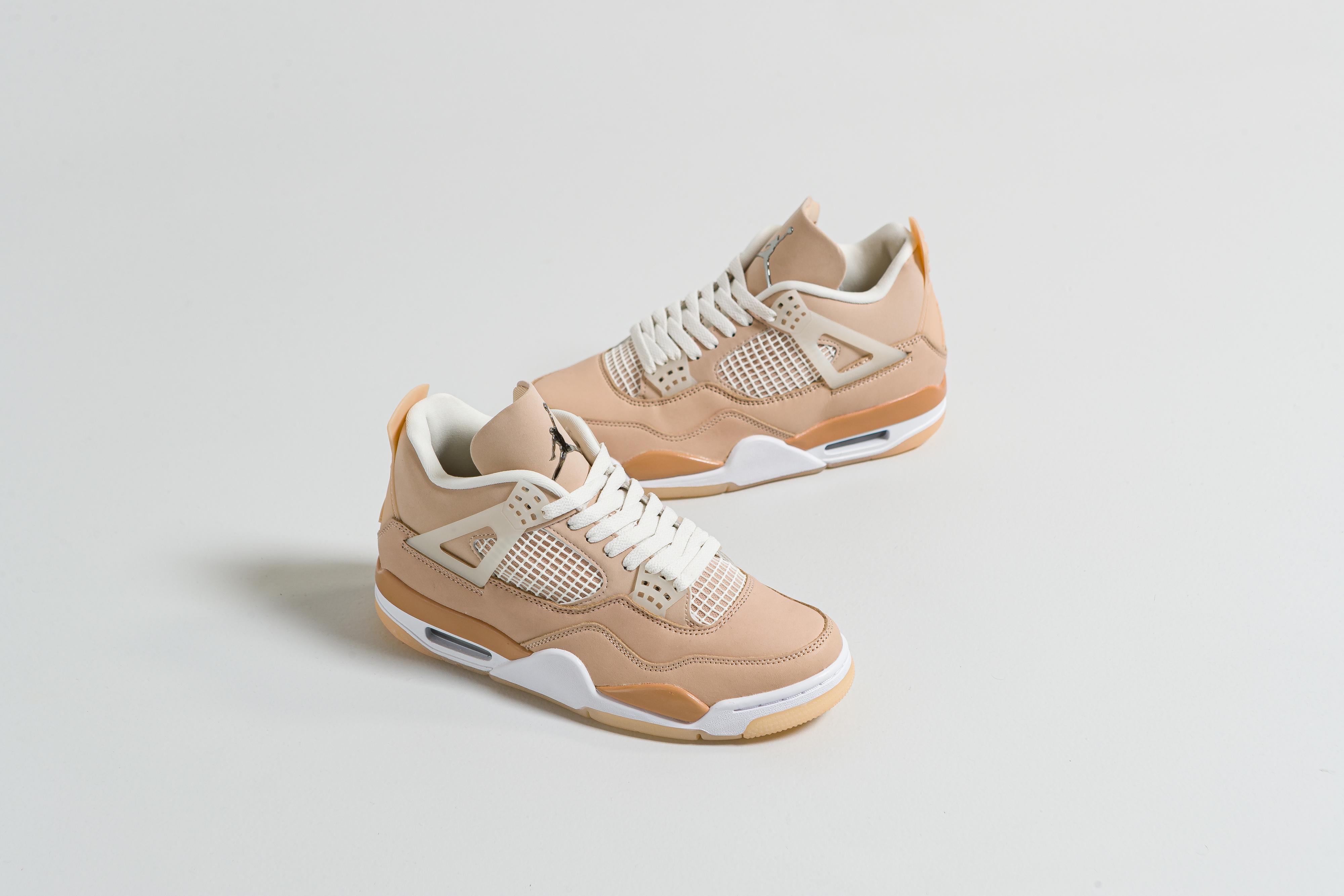 Jordan - Womens Air Jordan 4 Retro - Shimmer/Metallic Silver-Orange Quartz - Up There