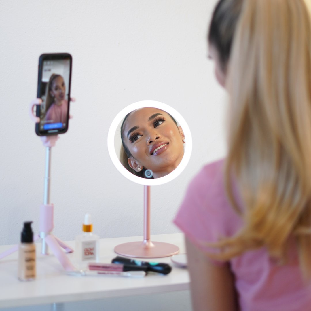 Nala lighted vanity travel mirror with 1X and 10X magnification