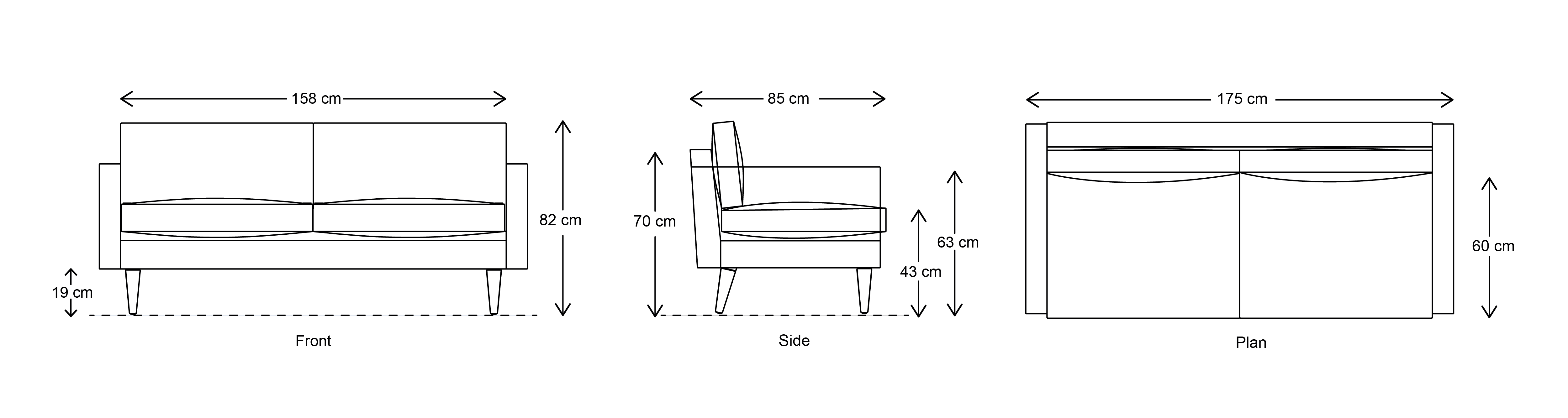 Model 01 2 Seater Dimensions Drawing