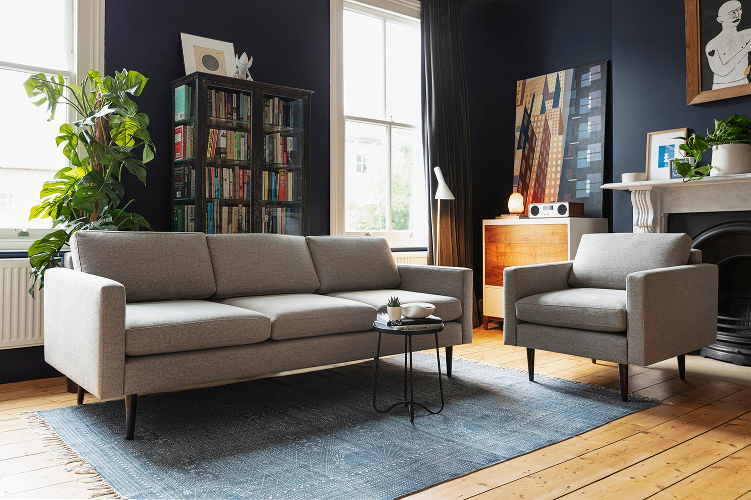 Model 01 3 Seater and Armchair in Shadow Linen