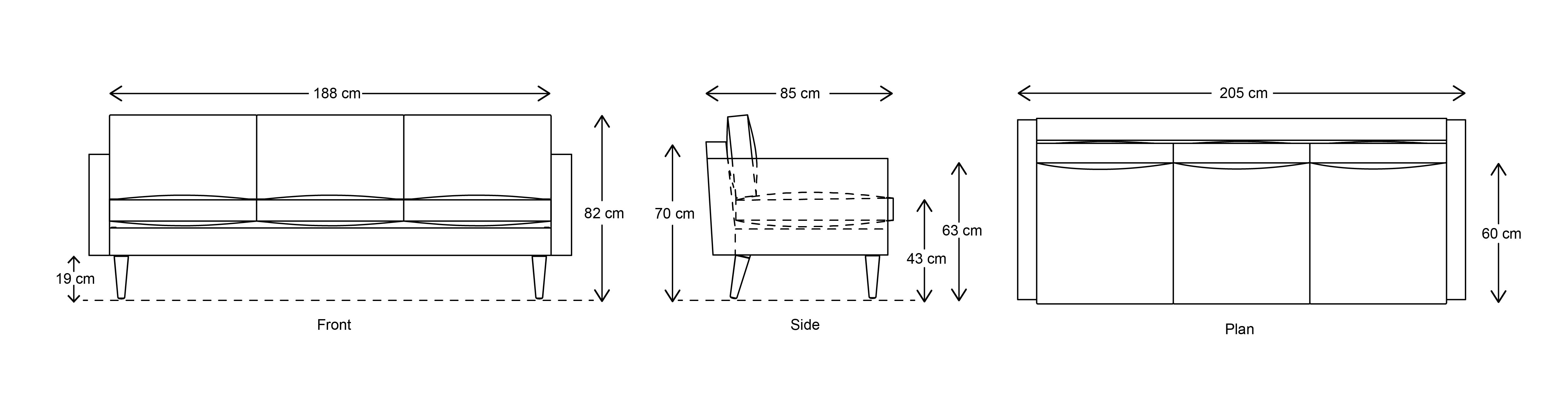 Model 01 3 Seater Dimensions drawing