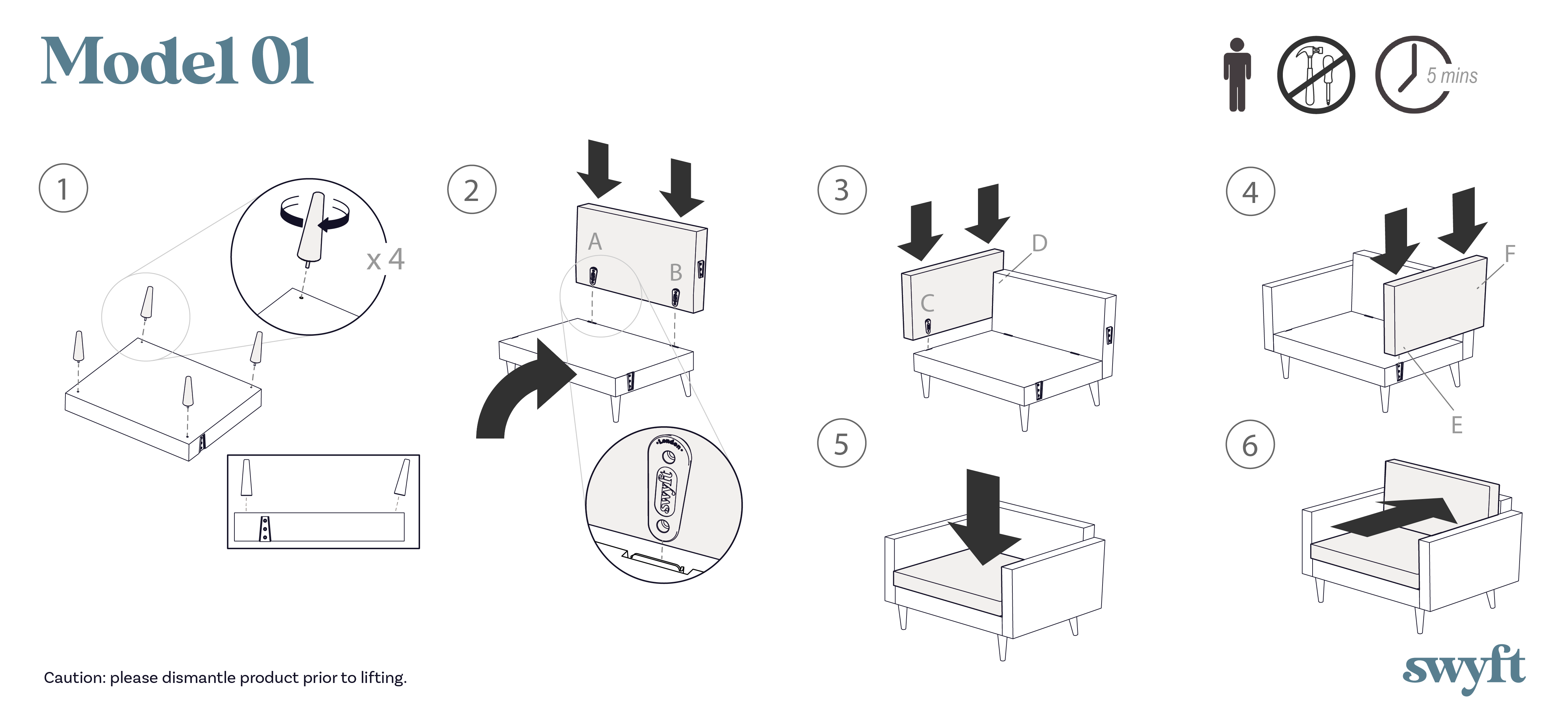 Model 01 Armchair assembly instruction drawings