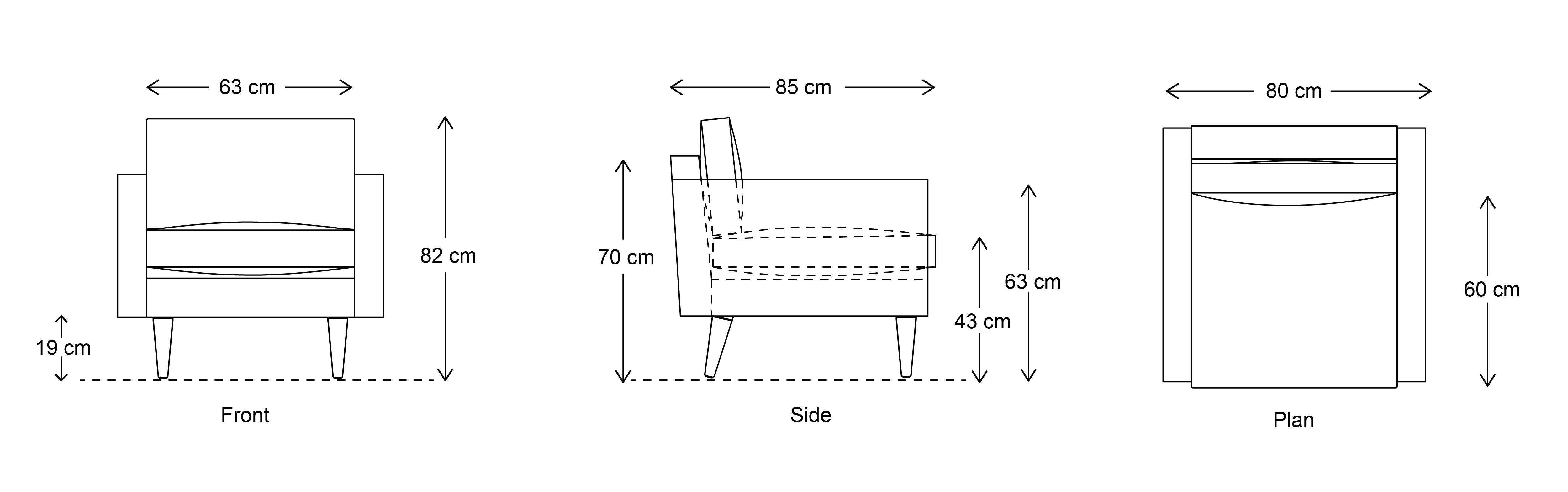 Model 01 Armchair dimensions drawing