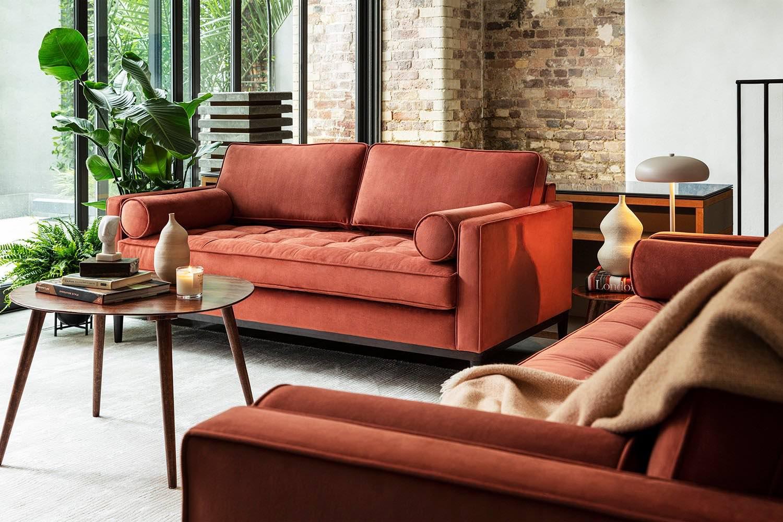 Model 02 2 and 3 seater sofa set in Brick Velvet Lifestyle image