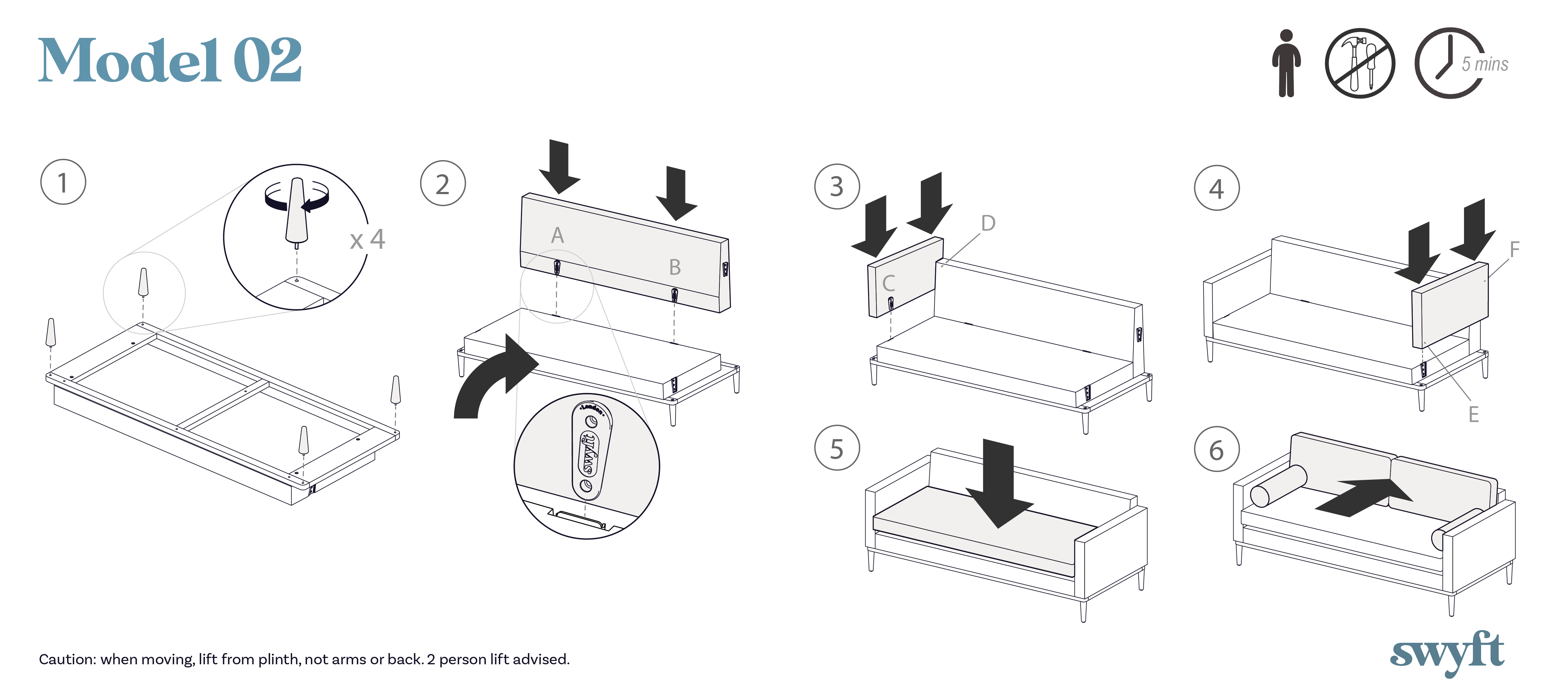 Model 02 sofa assembly instruction drawings