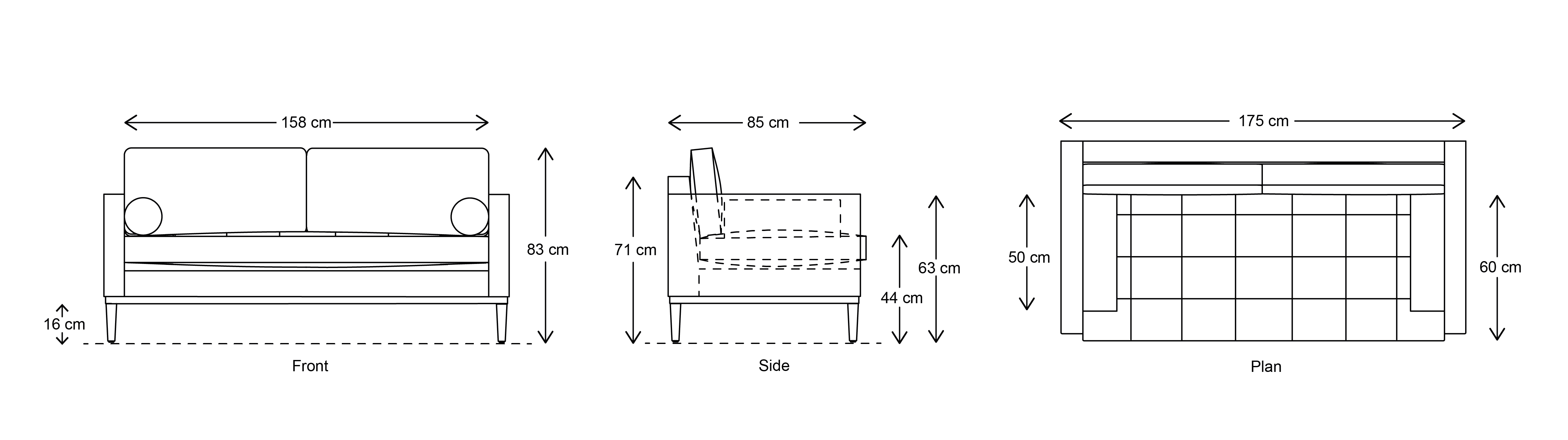 Model 02 2 Seater Sofa Dimensions Drawing