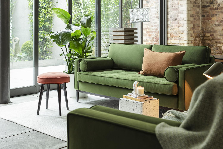 Model 02 Sofa Set in Vine Velvet with Model 00 Stool in Brick Velvet
