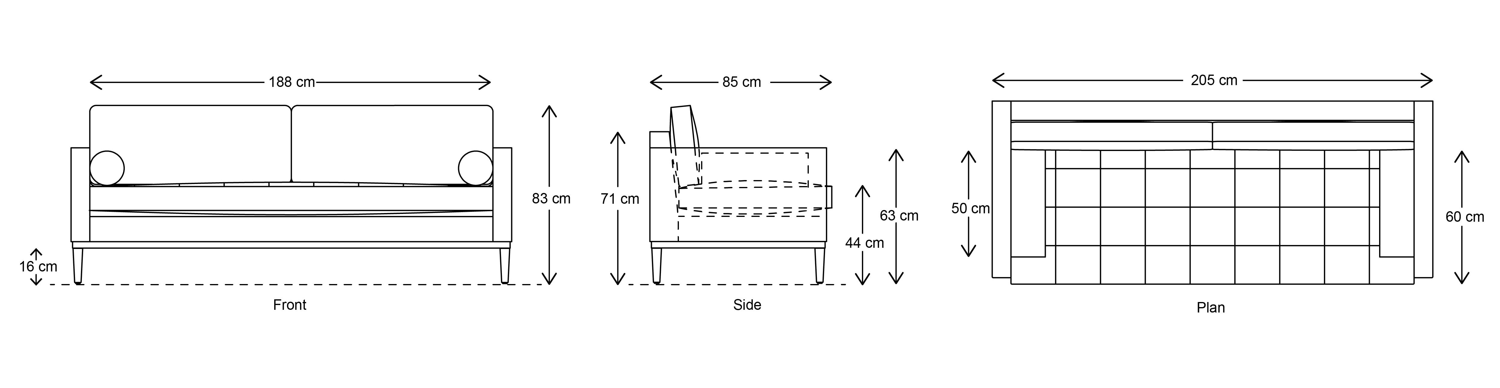 Model 02 3 Seater Sofa Dimensions Drawings