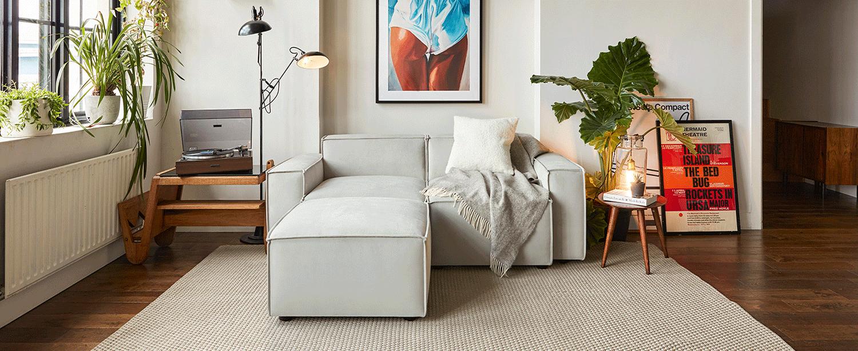 Model 03 2 Seater Left Chaise Sofa in Light Grey Velvet