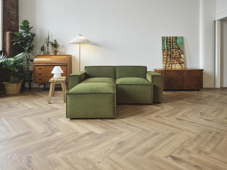 Model 03 2 Seater Chaise Sofa in Vine Velvet