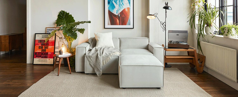 Model 03 2 Seater Chaise Sofa in Light Grey Velvet