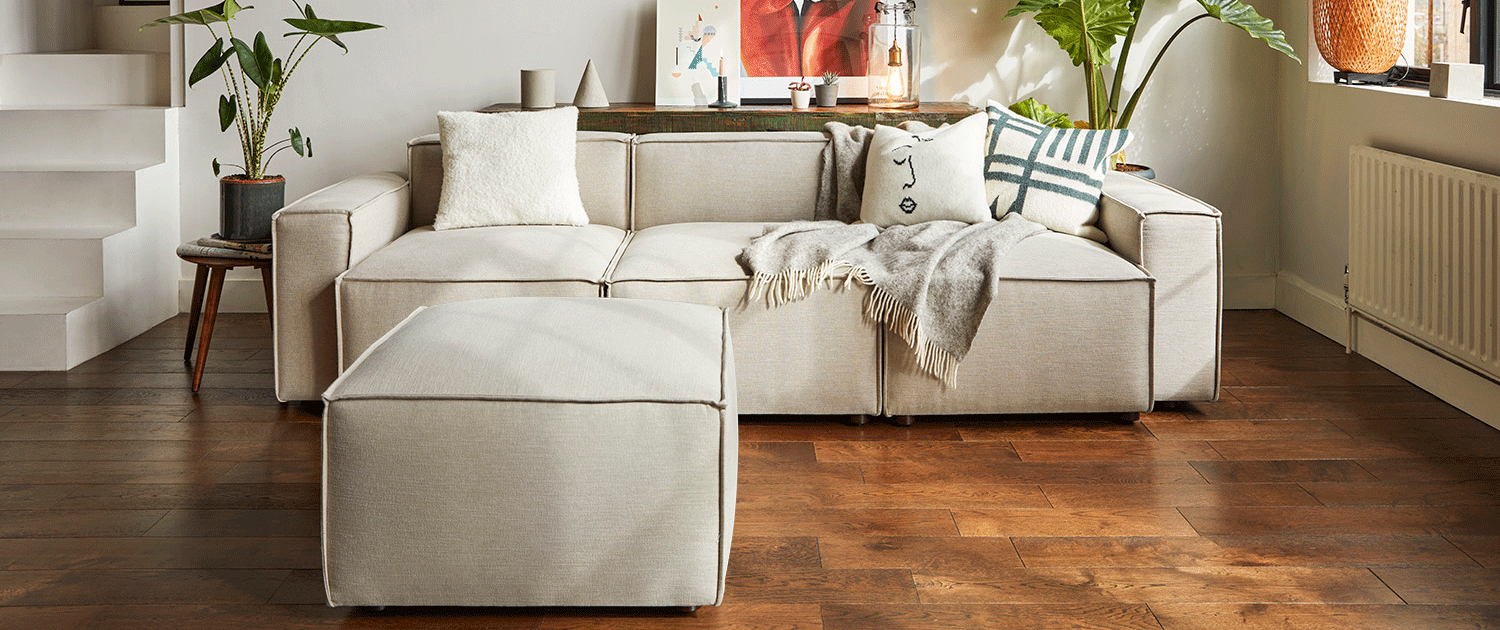 Model 03 3 Seater Chaise sofa in pumice linen