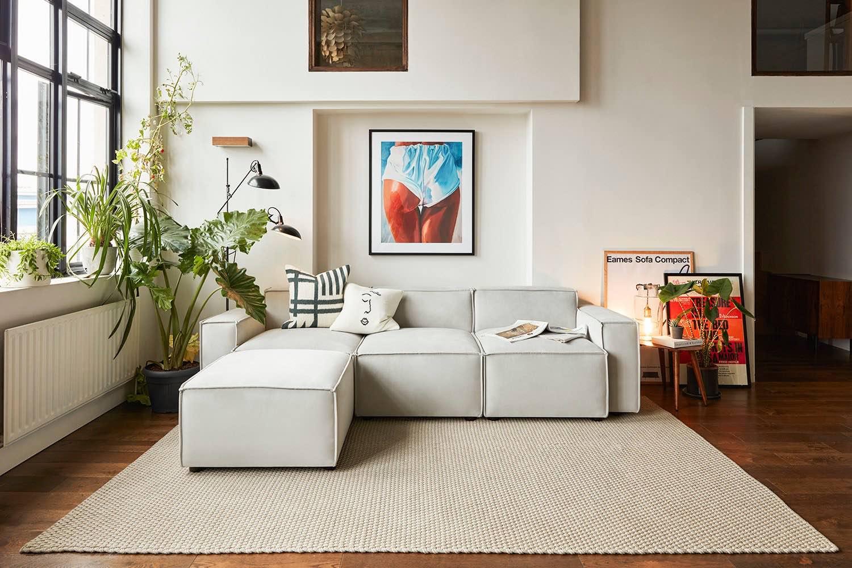Model 03 3 seater chaise sofa in light grey velvet