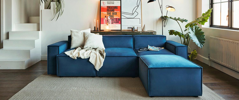 Model 03 3 seater chaise sofa in teal velvet