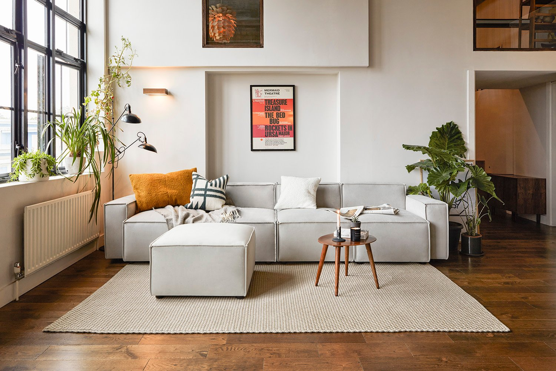 Model 03 4 seater chaise sofa in light grey velvet