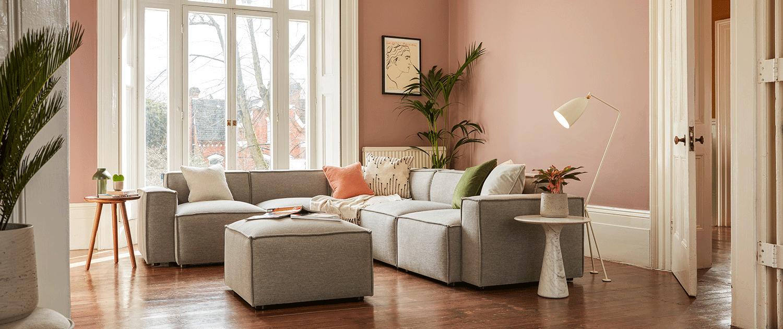 Model 03 Corner Sofa with Ottoman in Shadow Linen