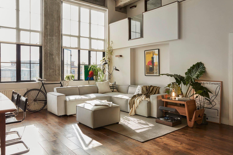 Model 03 Corner Sofa with Ottoman in Light Grey Velvet