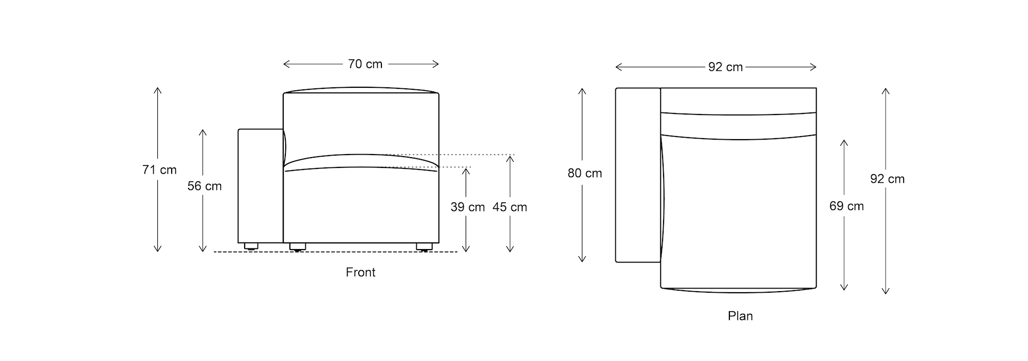 Model 03 Left Arm Dimensions Drawing
